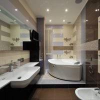 вариант красивого интерьера ванной комнаты с угловой ванной картинка