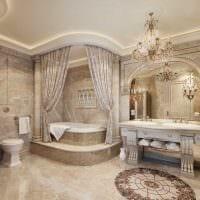 идея красивого стиля большой ванной фото