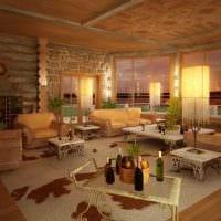 идея необычного дизайна гостиной в частном доме фото