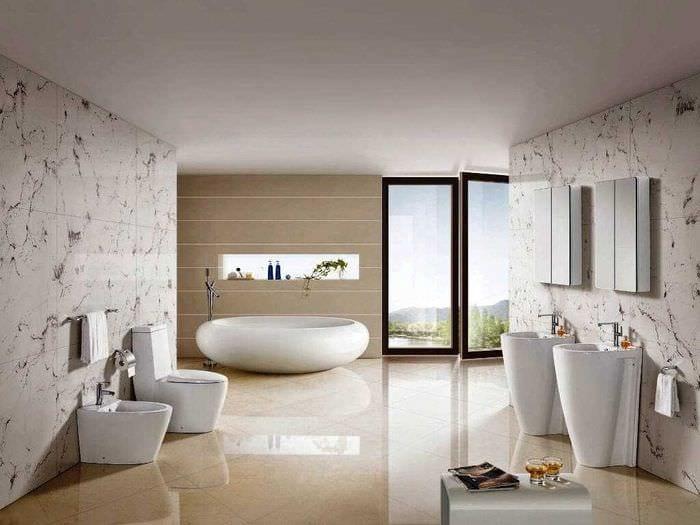 вариант современного интерьера ванной комнаты 2020