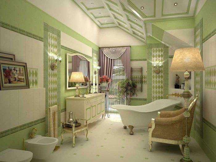 вариант современного дизайна ванной с окном