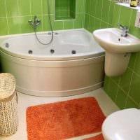 идея яркого интерьера ванной с угловой ванной фото