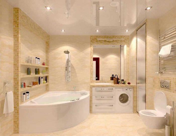 идея современного стиля ванной комнаты с угловой ванной