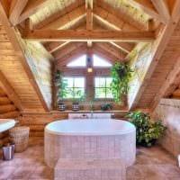 идея современного стиля ванной комнаты в деревянном доме картинка
