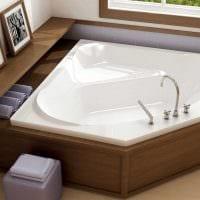 вариант современного стиля ванной с угловой ванной картинка