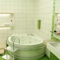 идея необычного дизайна ванной комнаты с угловой ванной фото
