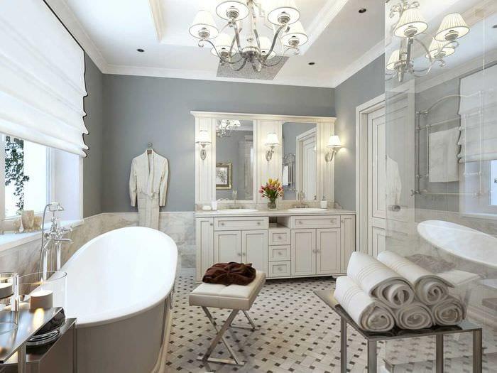 вариант светлого декора ванной в классическом стиле