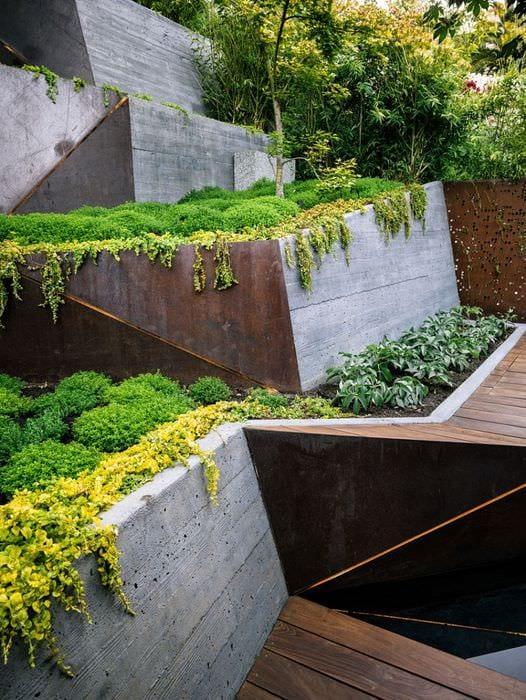 вариант красивого ландшафного дизайна сада
