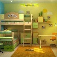 идея светлого декора детской комнаты для двух мальчиков фото