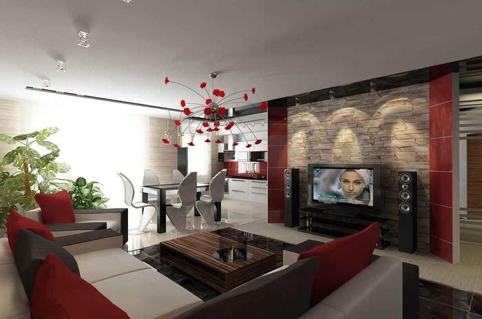 вариант светлого декора гостиной в современном стиле