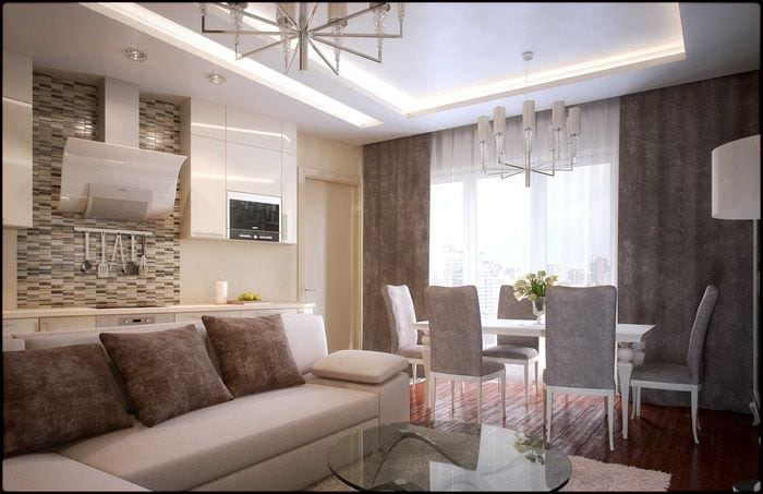 вариант красивого интерьера гостиной комнаты в современном стиле