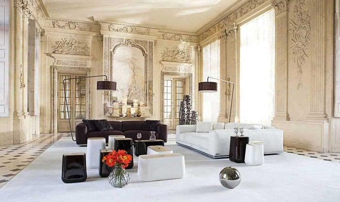 вариант красивого декора комнаты в стиле современная классика