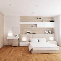 идея современного интерьера белой спальни фото