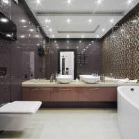 вариант необычного дизайна ванной комнаты с угловой ванной картинка