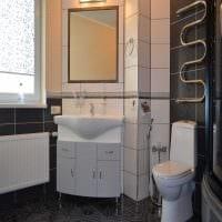 идея современного интерьера ванной в черно-белых тонах фото