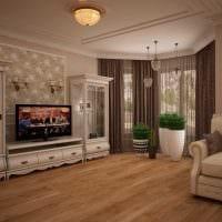 вариант яркого интерьера гостиной комнаты с эркером картинка