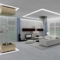 пример яркого дизайна гостиной с камином картинка