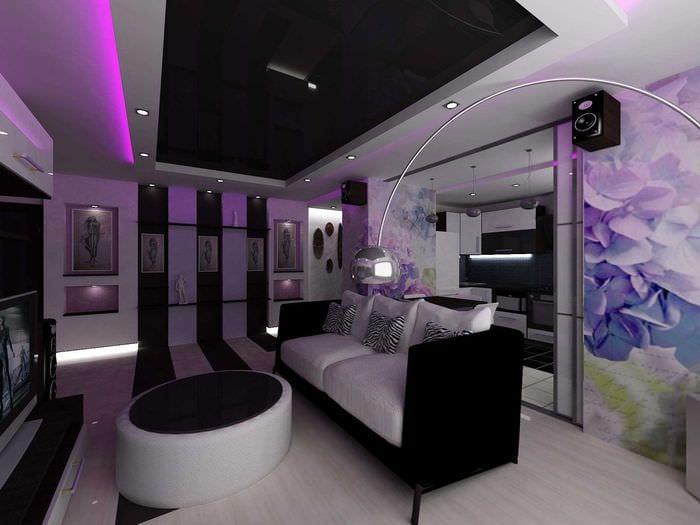 вариант яркого дизайна современной квартиры 50 кв.м
