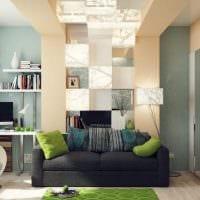 пример яркого дизайна гостиной 16 кв.м картинка