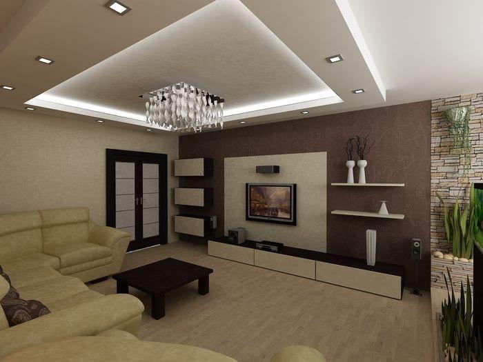 вариант необычного стиля гостиной комнаты 16 кв.м