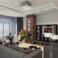 пример светлого декора гостиной с камином фото