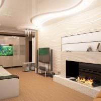 вариант красивого интерьера гостиной комнаты с камином картинка