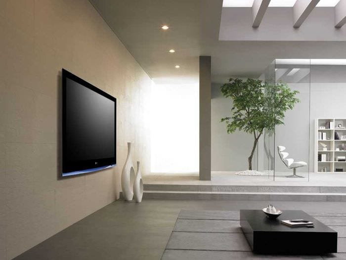пример необычного декора гостиной в стиле минимализм