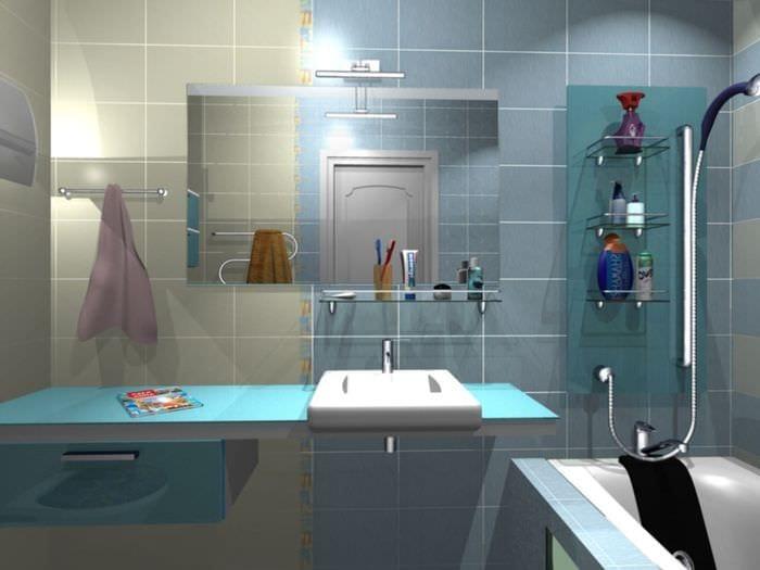 пример красивого интерьера ванной комнаты 5 кв.м