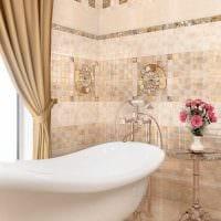 вариант необычного стиля ванной в бежевом цвете фото