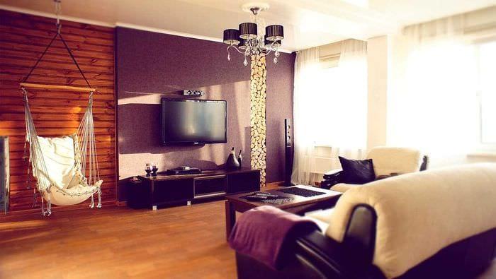 пример красивого стиля гостиной 25 кв.м