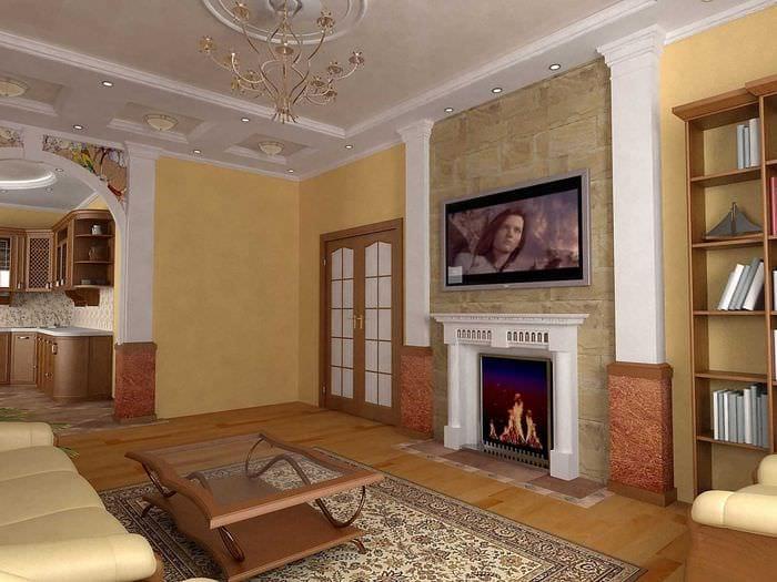 вариант яркого дизайна гостиной с камином