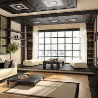 вариант необычного декора гостиной комнаты в стиле минимализм картинка