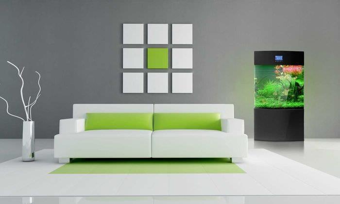 вариант красивого дизайна гостиной комнаты в стиле минимализм