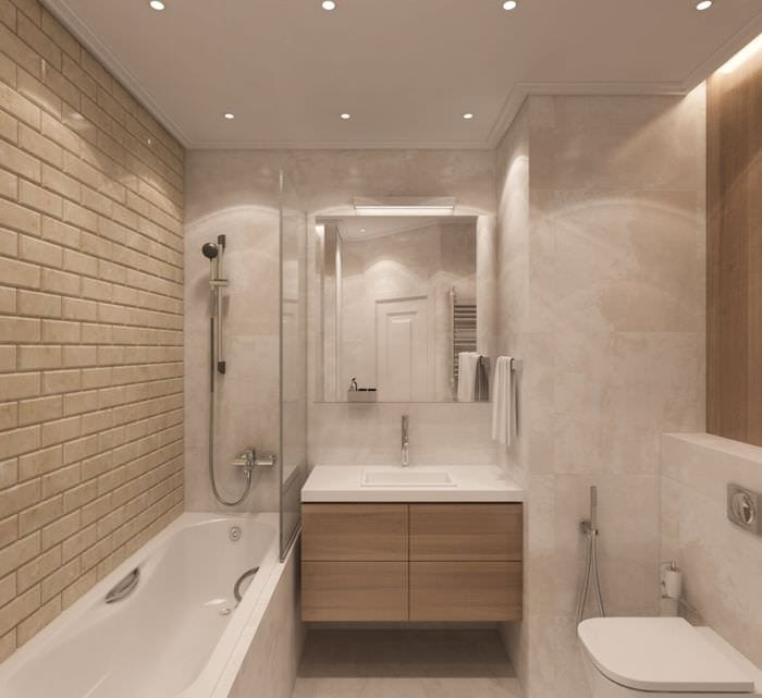 пример светлого стиля ванной комнаты в бежевом цвете