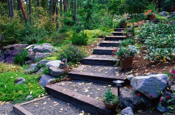 вариант яркого ландшафного дизайна сада