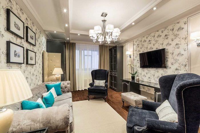 вариант светлого стиля гостиной комнаты 19-20 кв.м