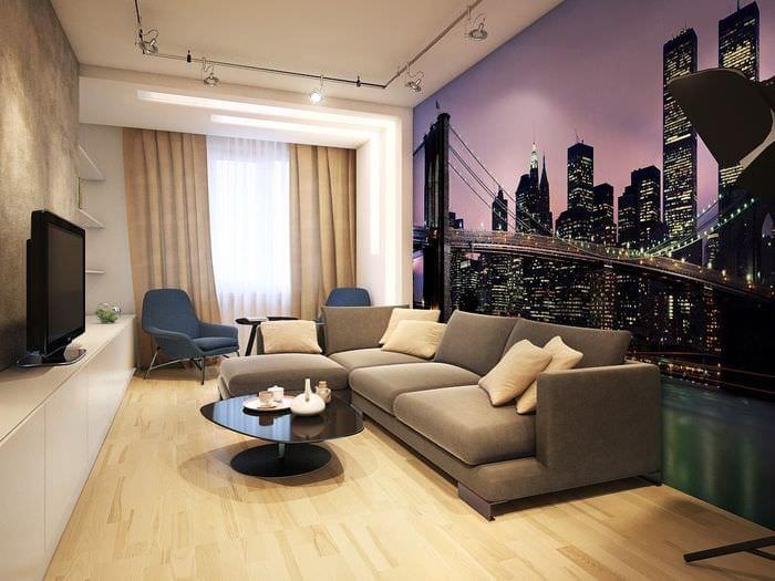 пример красивого дизайна гостиной комнаты 16 кв.м
