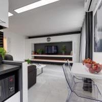 вариант красивого интерьера гостиной в стиле минимализм картинка