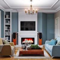 пример яркого дизайна гостиной 19-20 кв.м фото