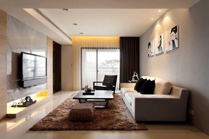 пример красивого стиля гостиной 19-20 кв.м