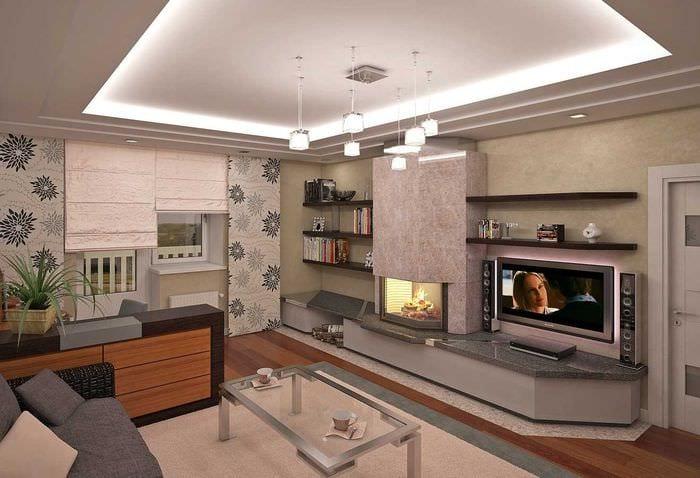 пример светлого дизайна гостиной с камином