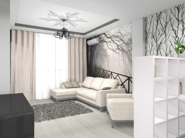 пример необычного дизайна современной квартиры 65 кв.м