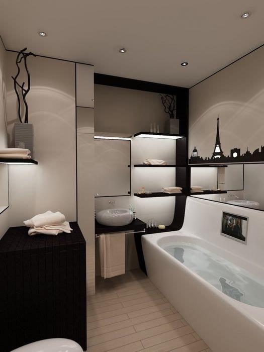 пример яркого стиля ванной 5 кв.м