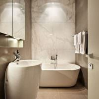 пример необычного дизайна ванной комнаты в бежевом цвете картинка
