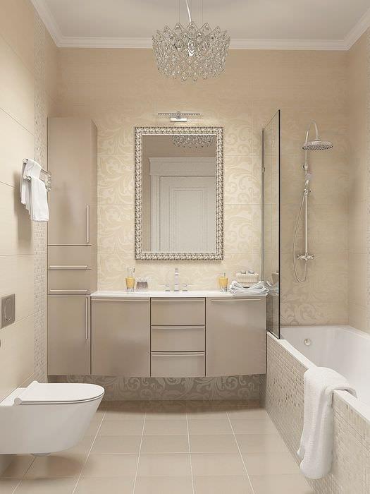 вариант красивого интерьера ванной комнаты в бежевом цвете
