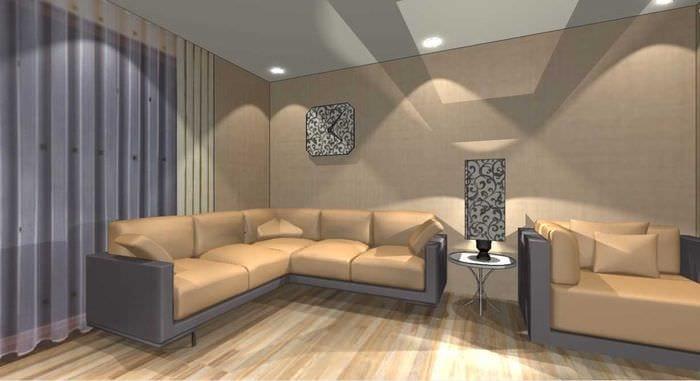 пример светлого интерьера гостиной в стиле минимализм