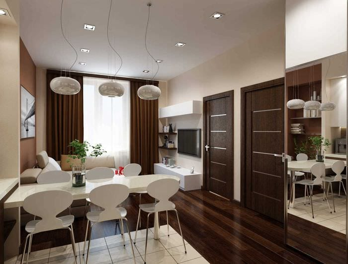 вариант красивого интерьера современной квартиры 50 кв.м