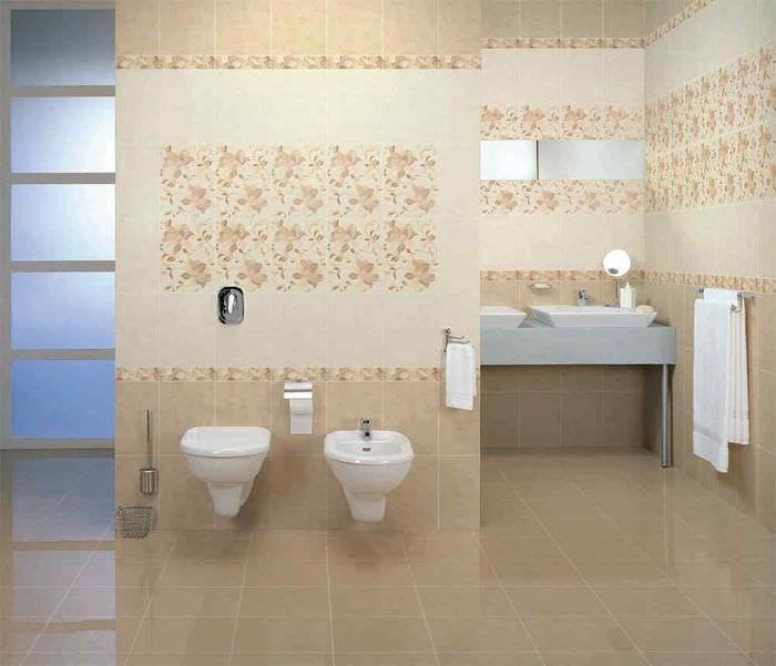 вариант красивого дизайна ванной в бежевом цвете