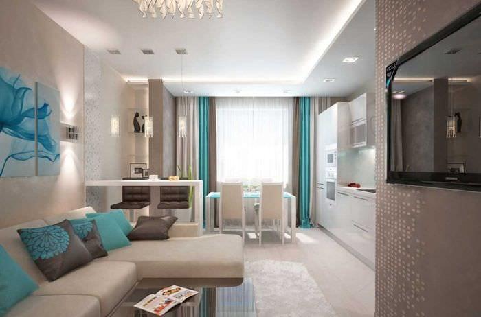 вариант красивого дизайна гостиной комнаты 25 кв.м