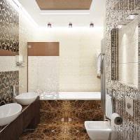 пример необычного интерьера ванной комнаты в бежевом цвете фото